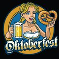 Sexy bavarian girl hold the pretzel and beer Royalty Free Stock Photo