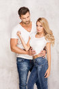 Sexy beautiful couple in jeans. Royalty Free Stock Photo