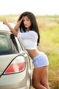 Sexy beautiful woman and car outdoor Royalty Free Stock Photos