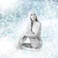 Sexy beautiful woman snow queen light winter fashion portrait of in lingerie snowflakes Stock Image