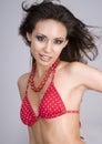 Sexy beautiful woman wearing red bikini Stock Photos