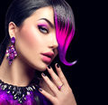 Sexy beauty fashion woman with purple dyed fringe Royalty Free Stock Photo