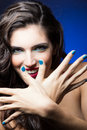 Sexy beauty girl with red lips and blue nails make up portrait of Royalty Free Stock Images
