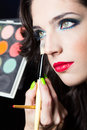 Sexy beauty girl with red lips make up portrait of Royalty Free Stock Image