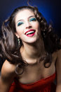 Sexy beauty girl with red lips make up portrait of Royalty Free Stock Images