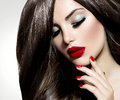 Sexy beauty girl with red lips and nails provocative make up Royalty Free Stock Photo