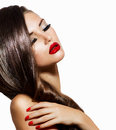 Sexy beauty girl with red lips and nails provocative makeup Royalty Free Stock Images
