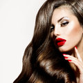 Sexy beauty girl with red lips and nails provocative makeup Royalty Free Stock Photography