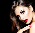 Sexy beauty girl with red lips and nails provocative makeup Stock Photos