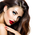 Sexy beauty girl with red lips and nails provocative makeup Stock Image