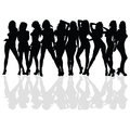 Sexy and beauty girl vector silhouette Royalty Free Stock Photo