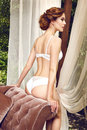 Sexy beauty lingerie woman body shape interior lace Royalty Free Stock Photo