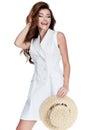Sexy beauty woman long brunette hair wear cotton dress summer co Royalty Free Stock Photo