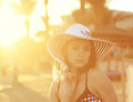 Sexy bikini woman in hat looking hot on the beach Stock Photos