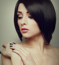 Sexy black short hair style female model looking closeup portrait Stock Photo