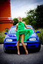 Sexy blond and car Royalty Free Stock Image