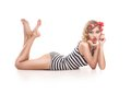 Sexy blond pin up girl on white background Stock Image