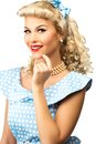 Sexy blond pin up woman style young in blue dress Stock Images