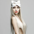 Sexy blonde in cat mask fashion photo of beautiful Stock Images