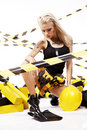 Sexy blonde  construction worker Stock Photo