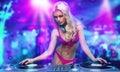 Sexy blonde dj girl
