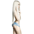 Sexy blonde fashion portrait of beautiful in jeans short Stock Photos