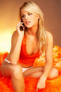 Sexy Blonde girl with cell phone Stock Photos