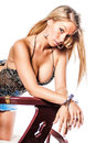 Sexy blonde girl fashion model woman in trendy clothing showing cleavage breasts Stock Photography