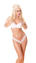 Sexy blonde isolated on white photo of a wearing bra and panties Stock Photos