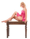 Sexy blonde in pink lingerie Stock Photos