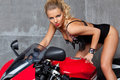 Sexy Blonde on sportbike Royalty Free Stock Images