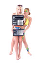 Sexy body painting of girls bikinis with music equipment Royalty Free Stock Photos