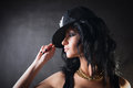 Sexy brunette in cap swag girl fashion portrait of Stock Image
