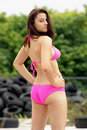 Sexy Brunette in a Hot Pink Bikini (1) Royalty Free Stock Photo