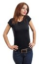 Sexy brunette wearing blank black shirt Stock Photos
