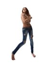 Sexy brunette woman in jeans Stock Photo