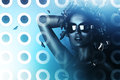 Sexy brunette woman in sunglasses and hologram Royalty Free Stock Photo