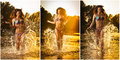brunette woman in swimsuit running in river water. young woman playing with water during sunset. Beautiful woman Royalty Free Stock Photo