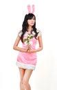 Sexy bunny girl hold pink rose Stock Photos