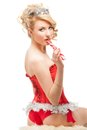 Sexy cheerful santa helper girl beautiful blonde Royalty Free Stock Images