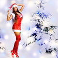 Sexy christmas girl with snow background Stock Photography