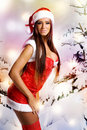 Sexy christmas girl with snow background Royalty Free Stock Photos