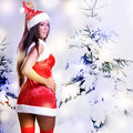 Sexy christmas girl with snow background Stock Photos