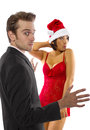 Sexy christmas young caucasian and asian couple on Stock Photo