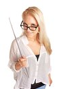 Sexy College Instructor Holding a Stick Stock Photography