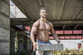 Sexy construction worker shirtless with muscular Royalty Free Stock Photo