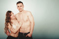 Sexy couple. Half naked man and woman in lingerie. Royalty Free Stock Photo