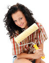 Sexy craftswoman with a roller brush Royalty Free Stock Photo