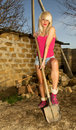 Sexy farmer beautiful blonde girl with an ax chopping firewood Stock Photos