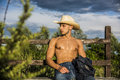 Sexy farmer or cowboy next to hay field Royalty Free Stock Photo